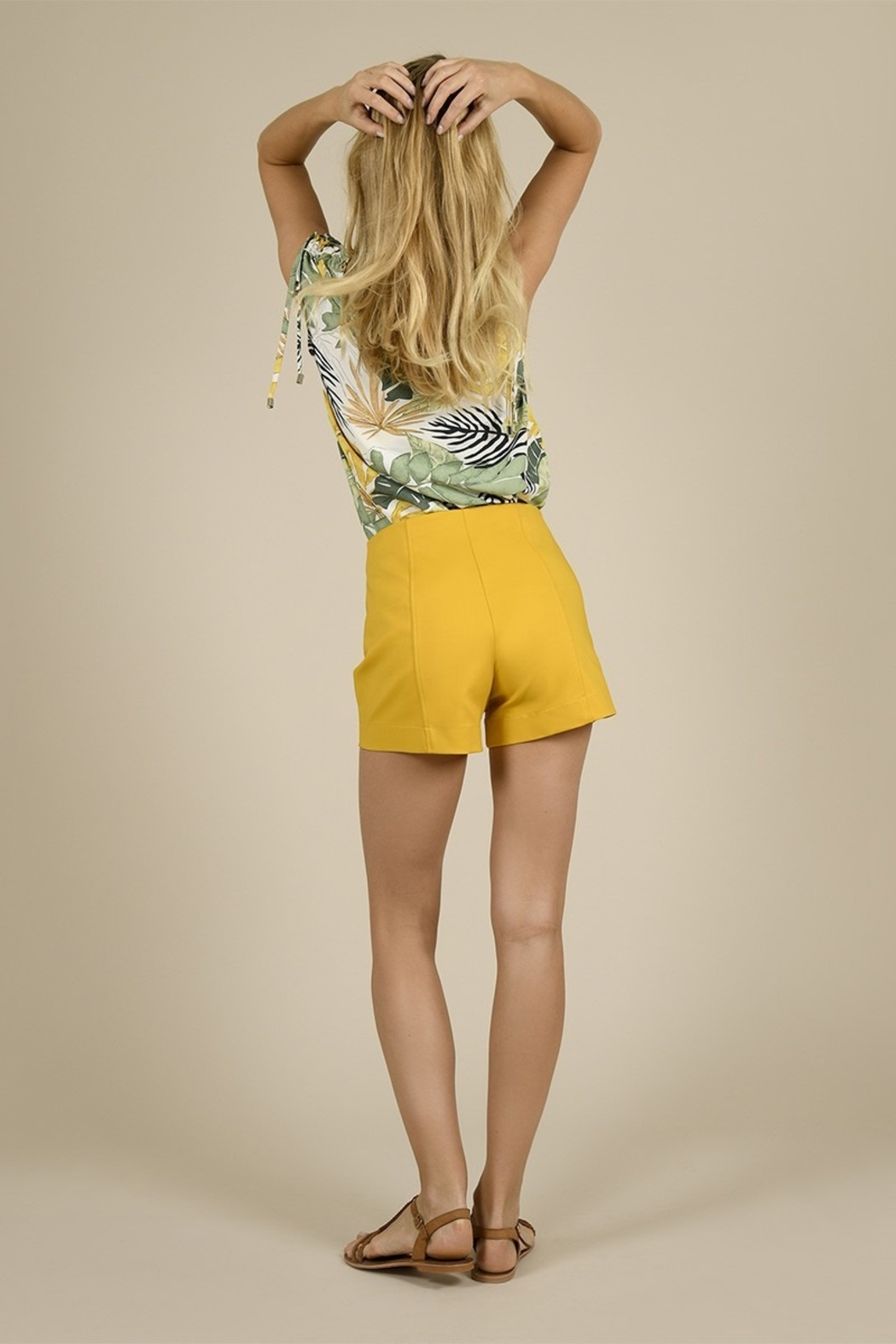 Molly Bracken Tailored Snap Pocketed Shorts - Front Full Image
