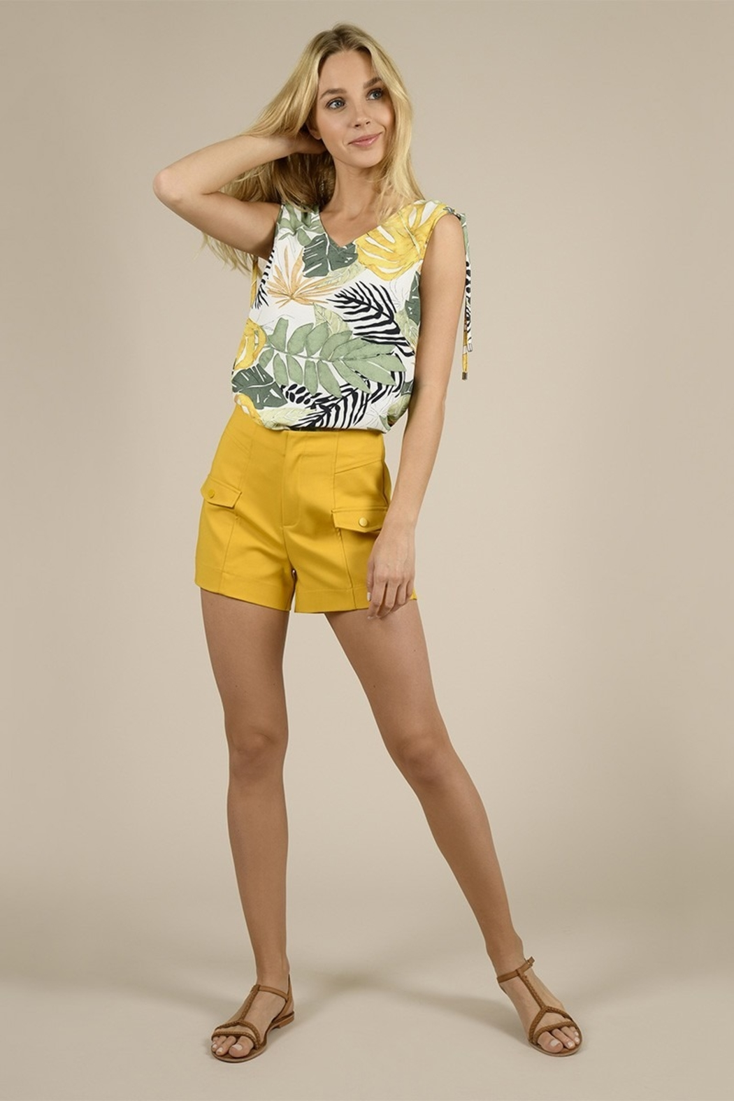 Molly Bracken Tailored Snap Pocketed Shorts - Main Image