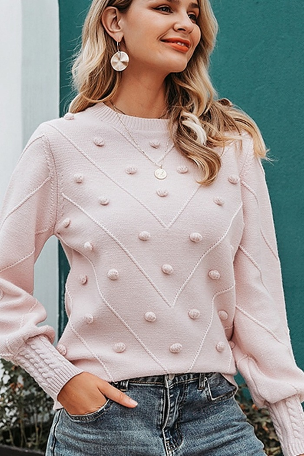 Esley  Molly Keep It Toasty Cable Knit Pullover Sweater - Main Image