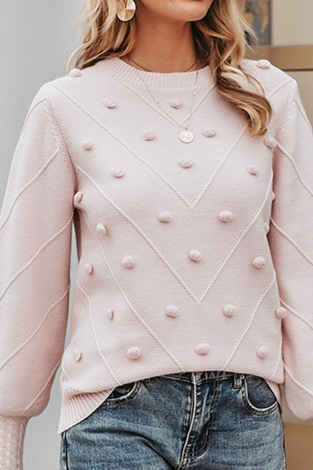 Esley  Molly Keep It Toasty Cable Knit Pullover Sweater - Front Full Image