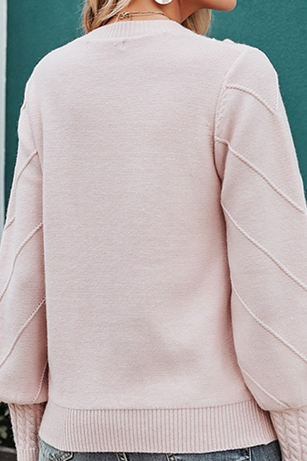 Esley  Molly Keep It Toasty Cable Knit Pullover Sweater - Side Cropped Image
