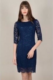 Molly Bracken Blue-Lace Sheath Dress - Front cropped