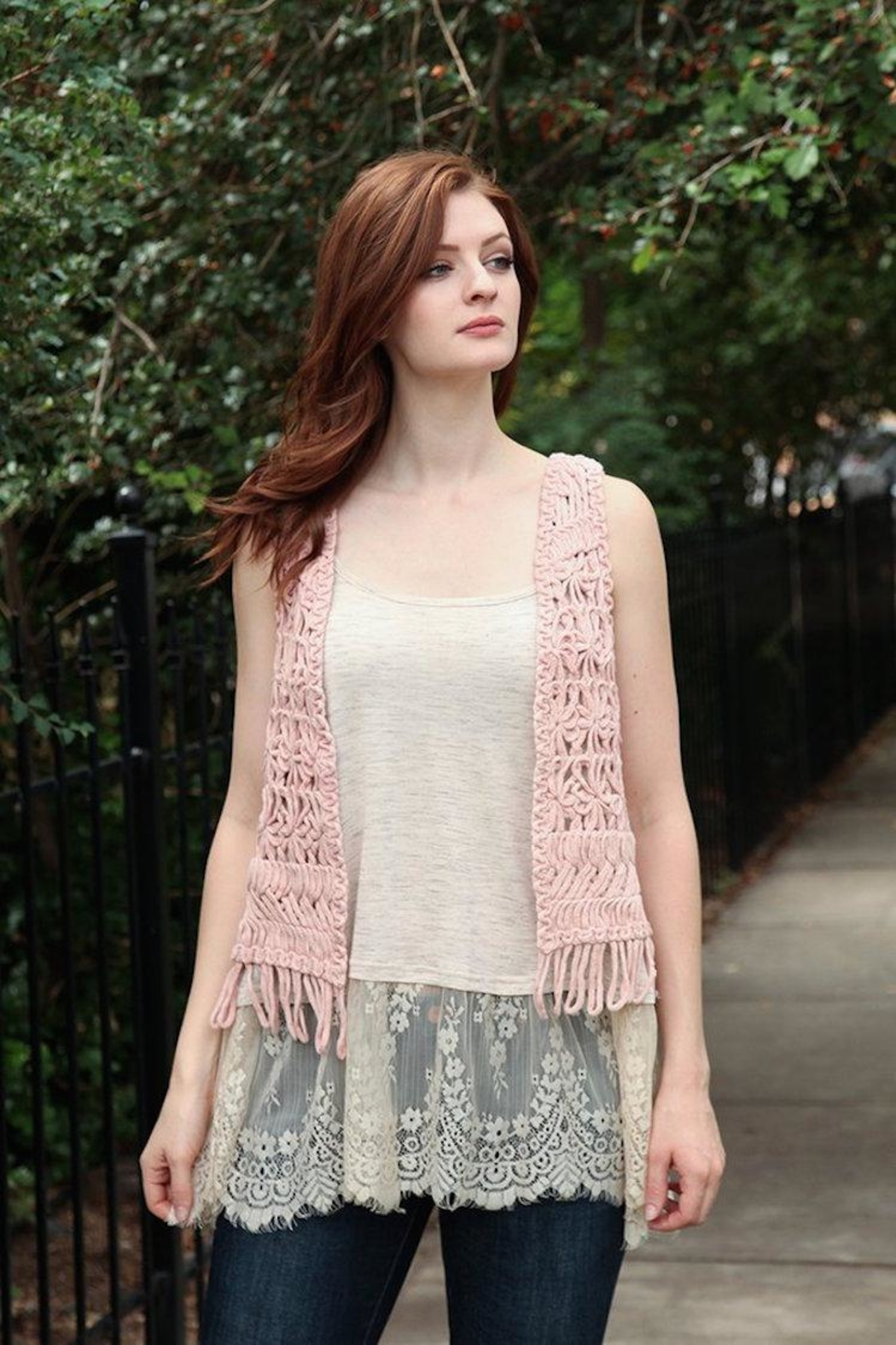 Molly Bracken Chunky Crochet Vest - Main Image