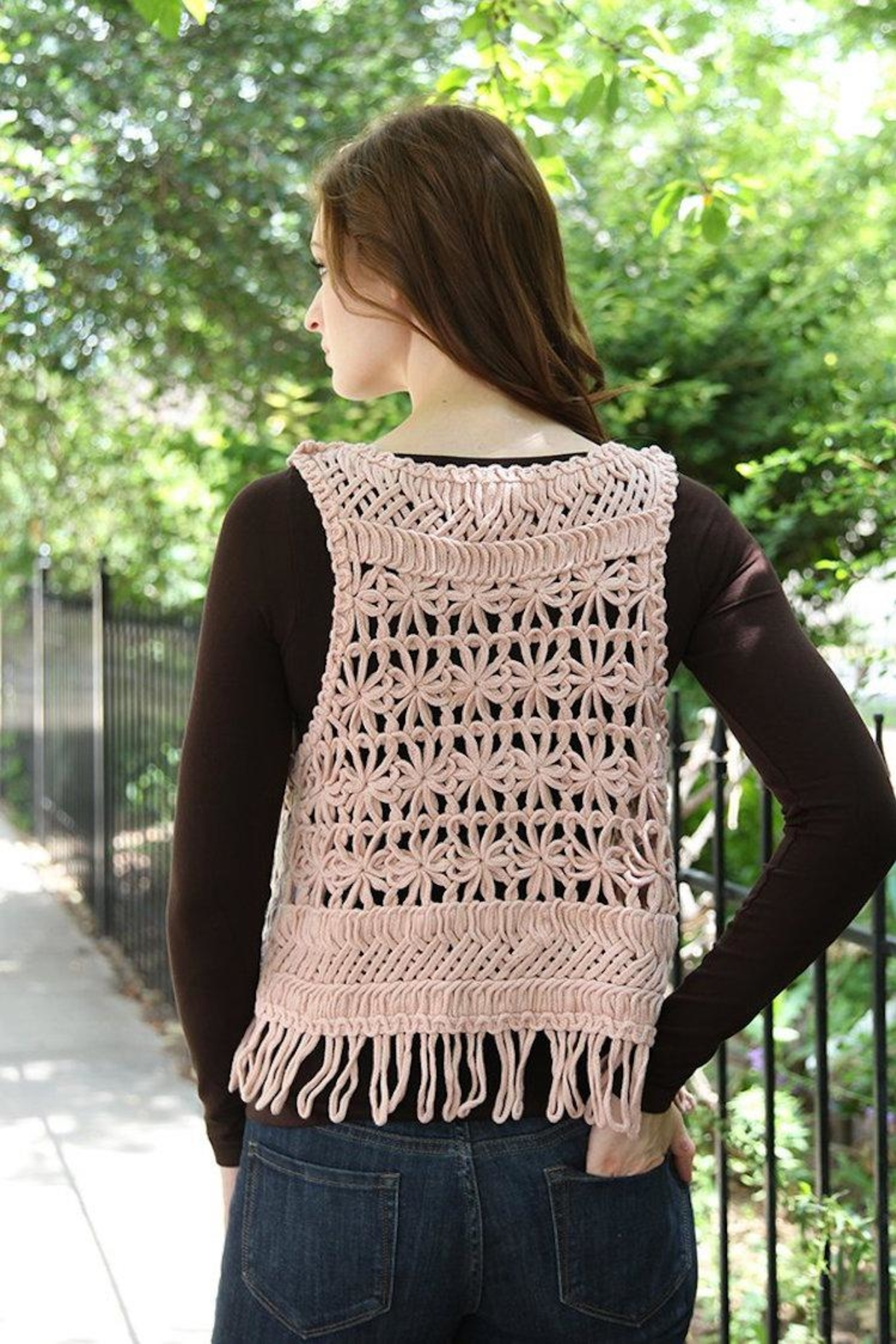 Molly Bracken Chunky Crochet Vest - Back Cropped Image