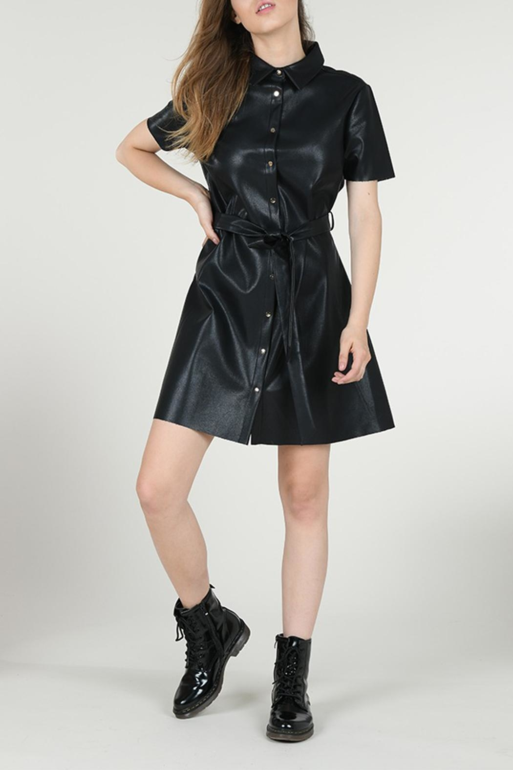 Molly Bracken Faux Leather Dress - Front Full Image