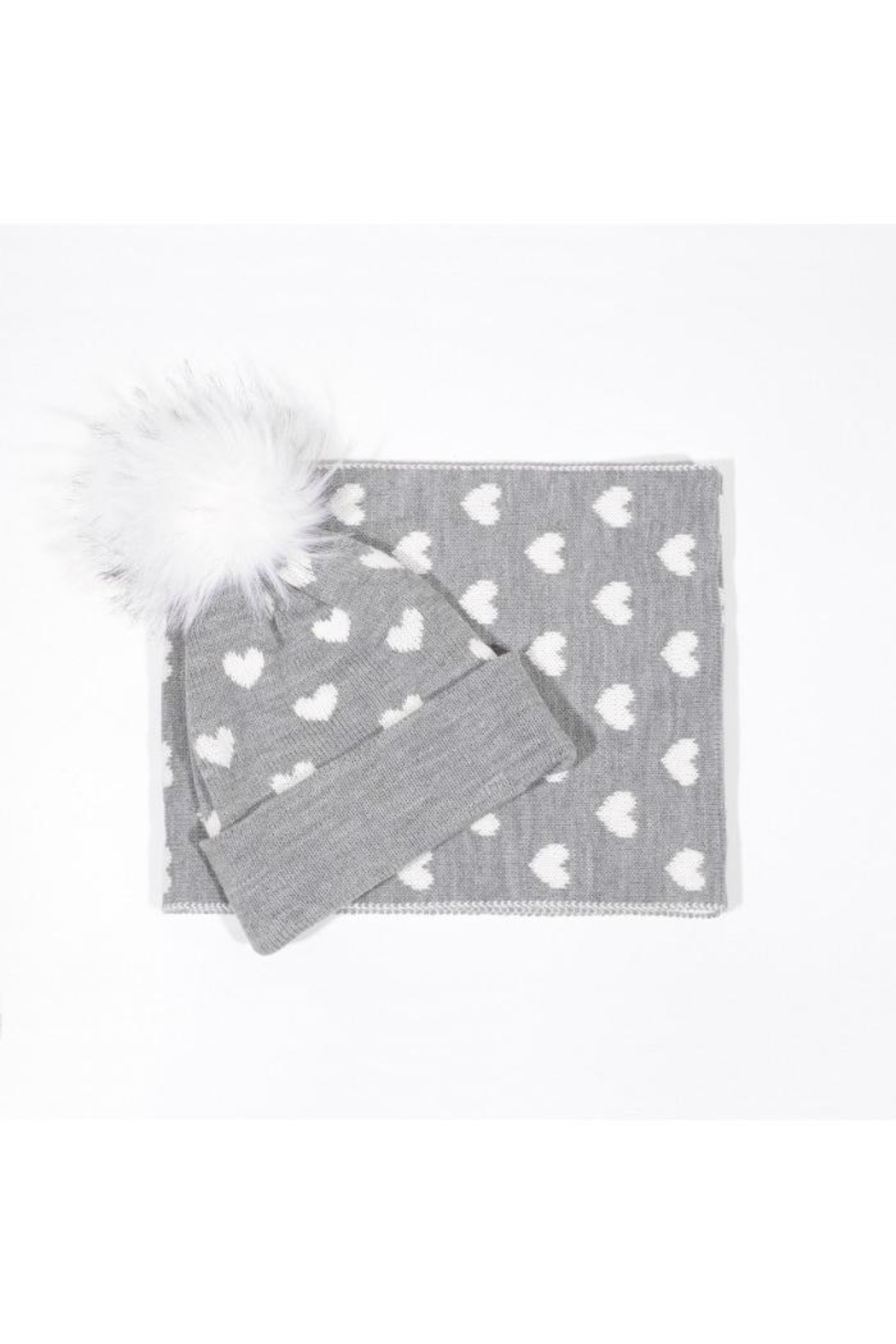 Molly Bracken Heart Print Beanie/scarf - Front Cropped Image