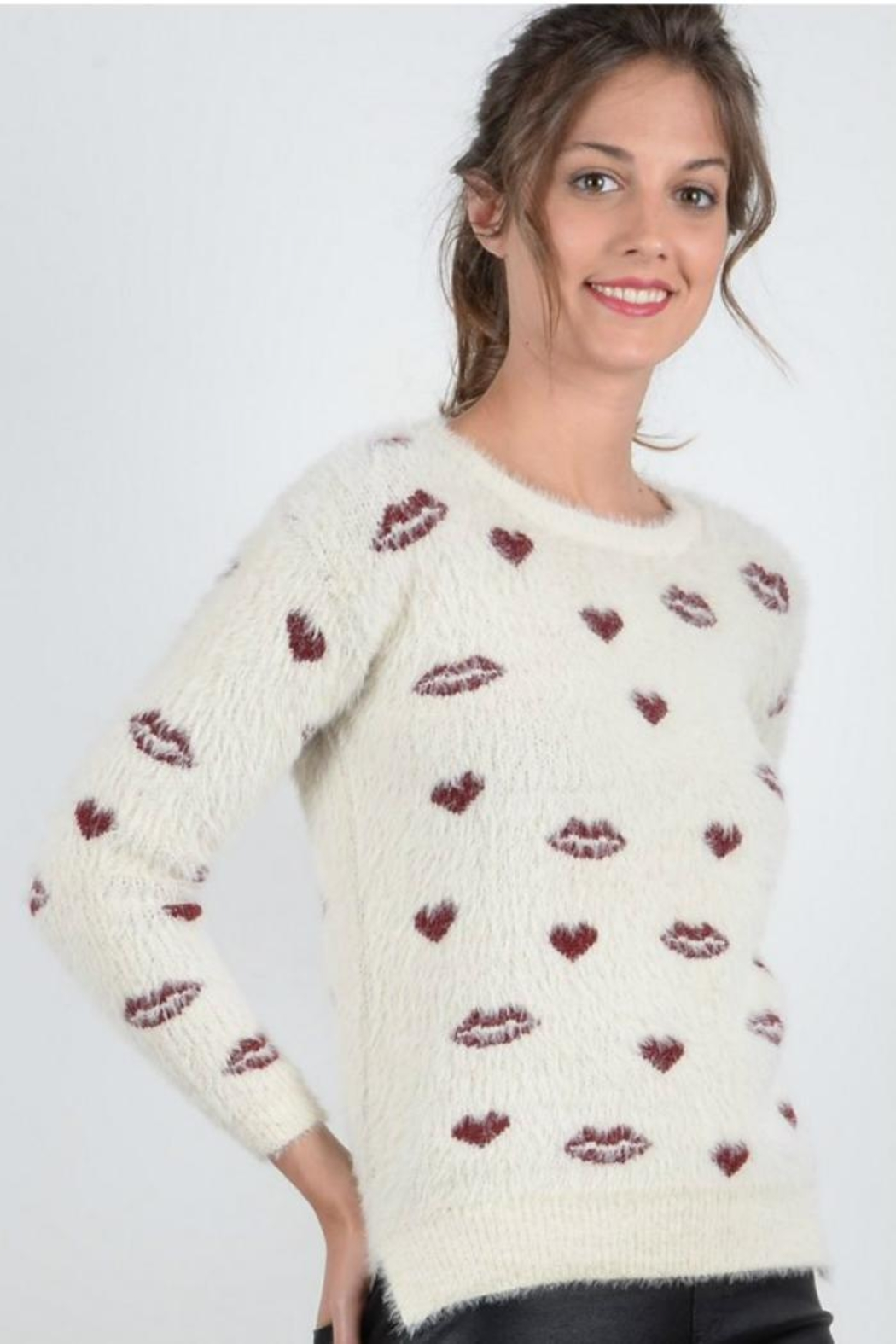 Molly Bracken Hearts Kisses Sweater - Front Full Image