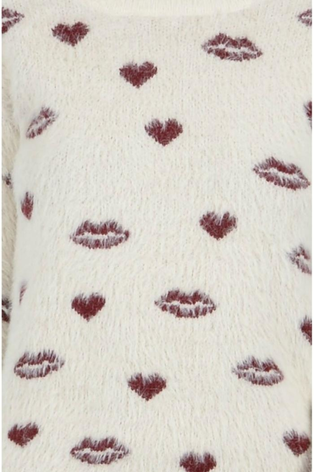 Molly Bracken Hearts Kisses Sweater - Back Cropped Image