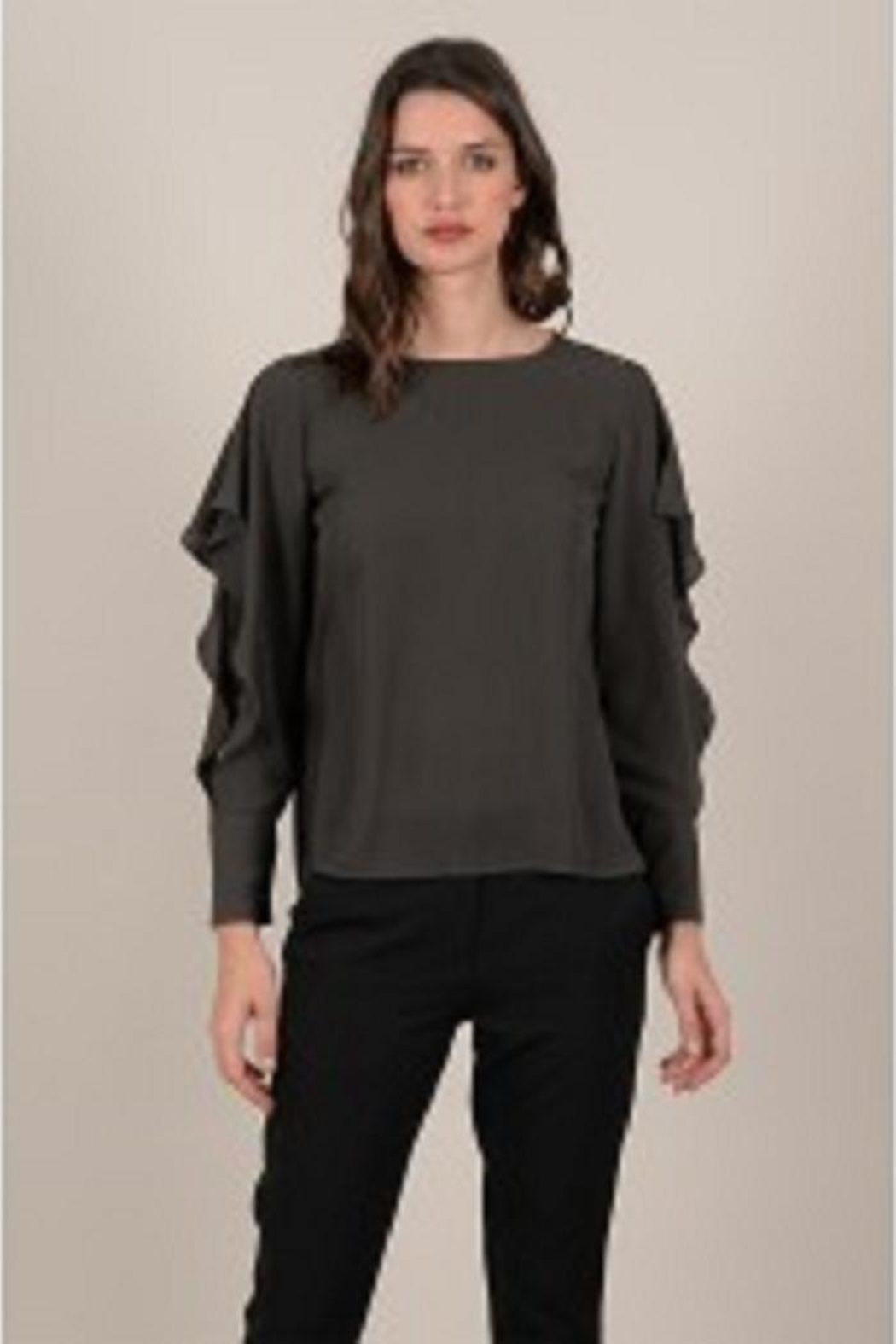 Molly Bracken Inlayed-Lace Sleeve Blouse - Front Cropped Image