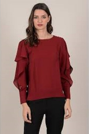 Molly Bracken Inlayed-Lace Sleeve Blouse - Product Mini Image