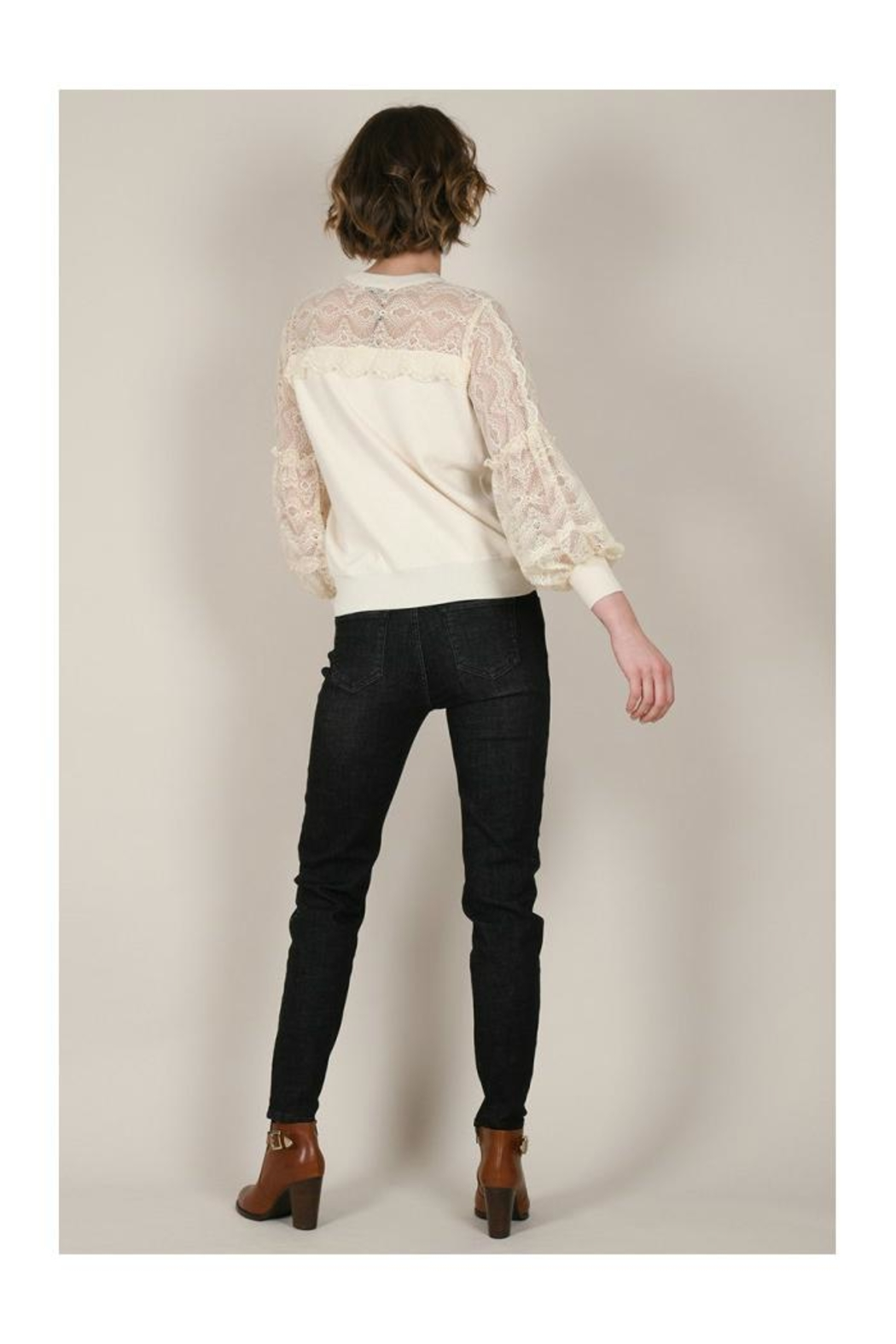 Molly Bracken Lace Sleeves Sweater - Back Cropped Image