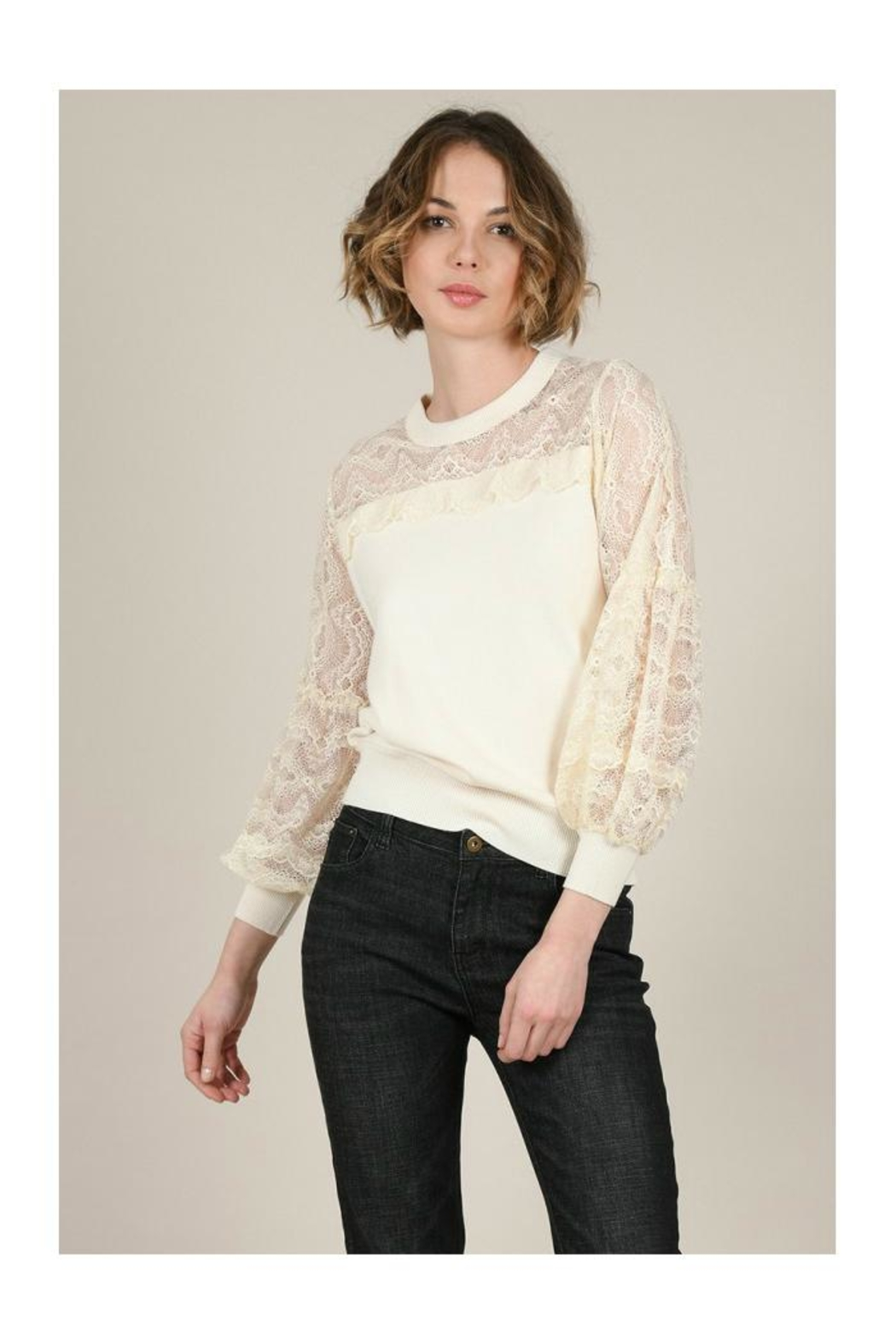 Molly Bracken Lace Sleeves Sweater - Front Full Image
