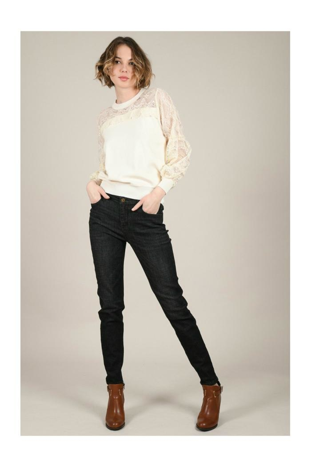 Molly Bracken Lace Sleeves Sweater - Main Image
