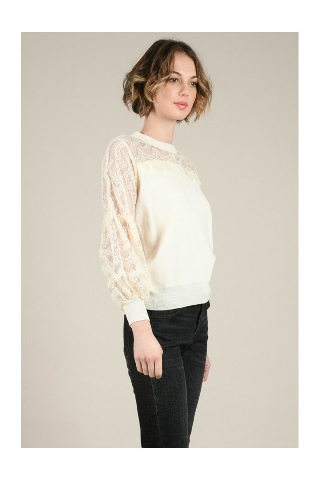 Molly Bracken Lace Sleeves Sweater - Side Cropped Image
