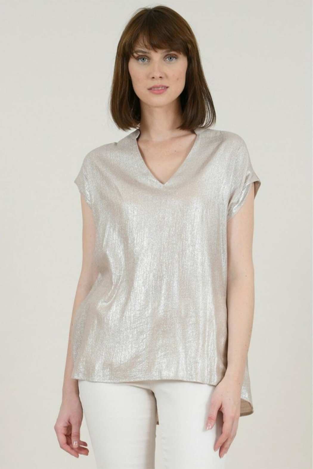 Molly Bracken Lamé V-Neck Top - Front Cropped Image