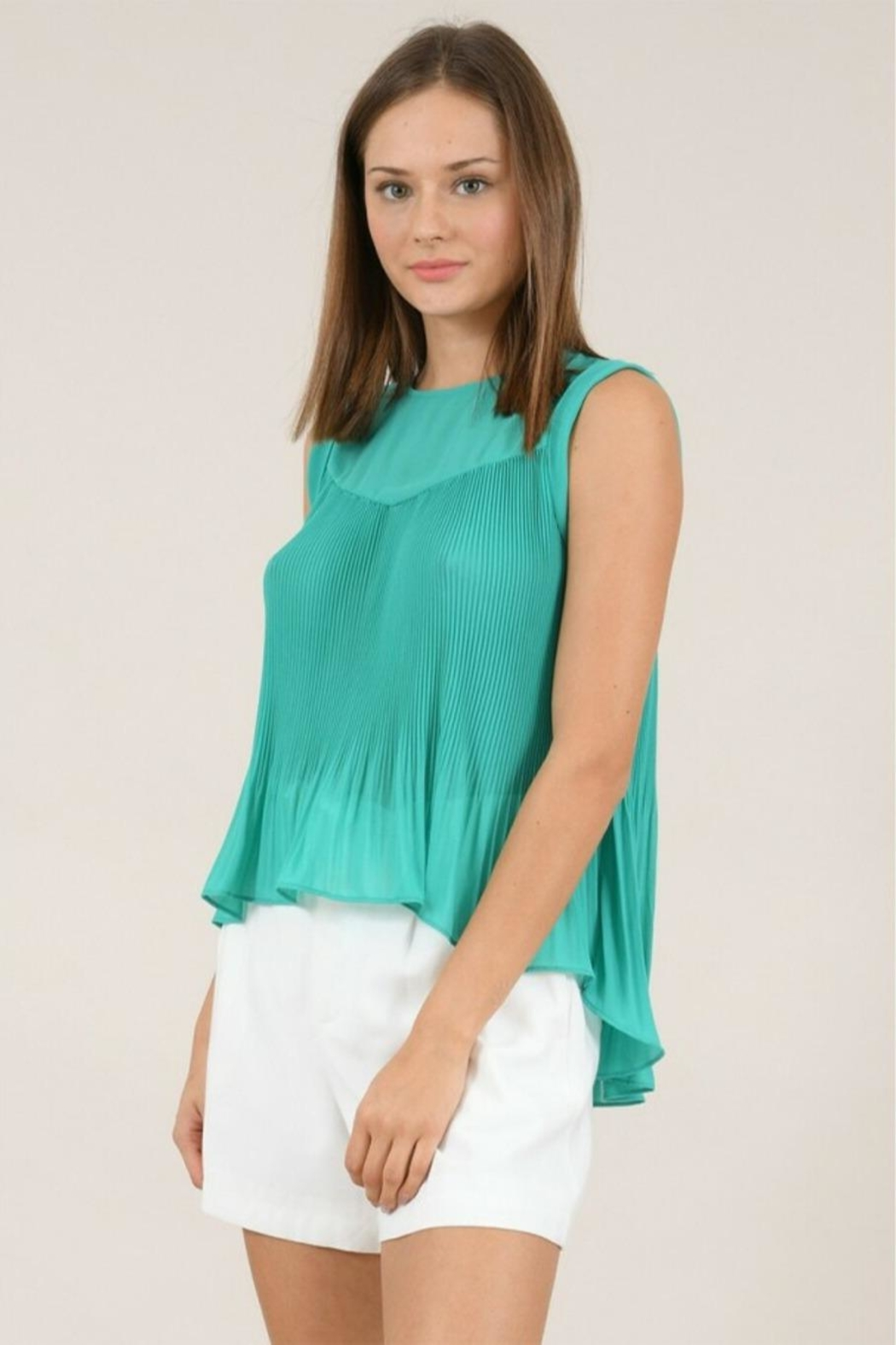 Molly Bracken Pleated Flared Top - Back Cropped Image
