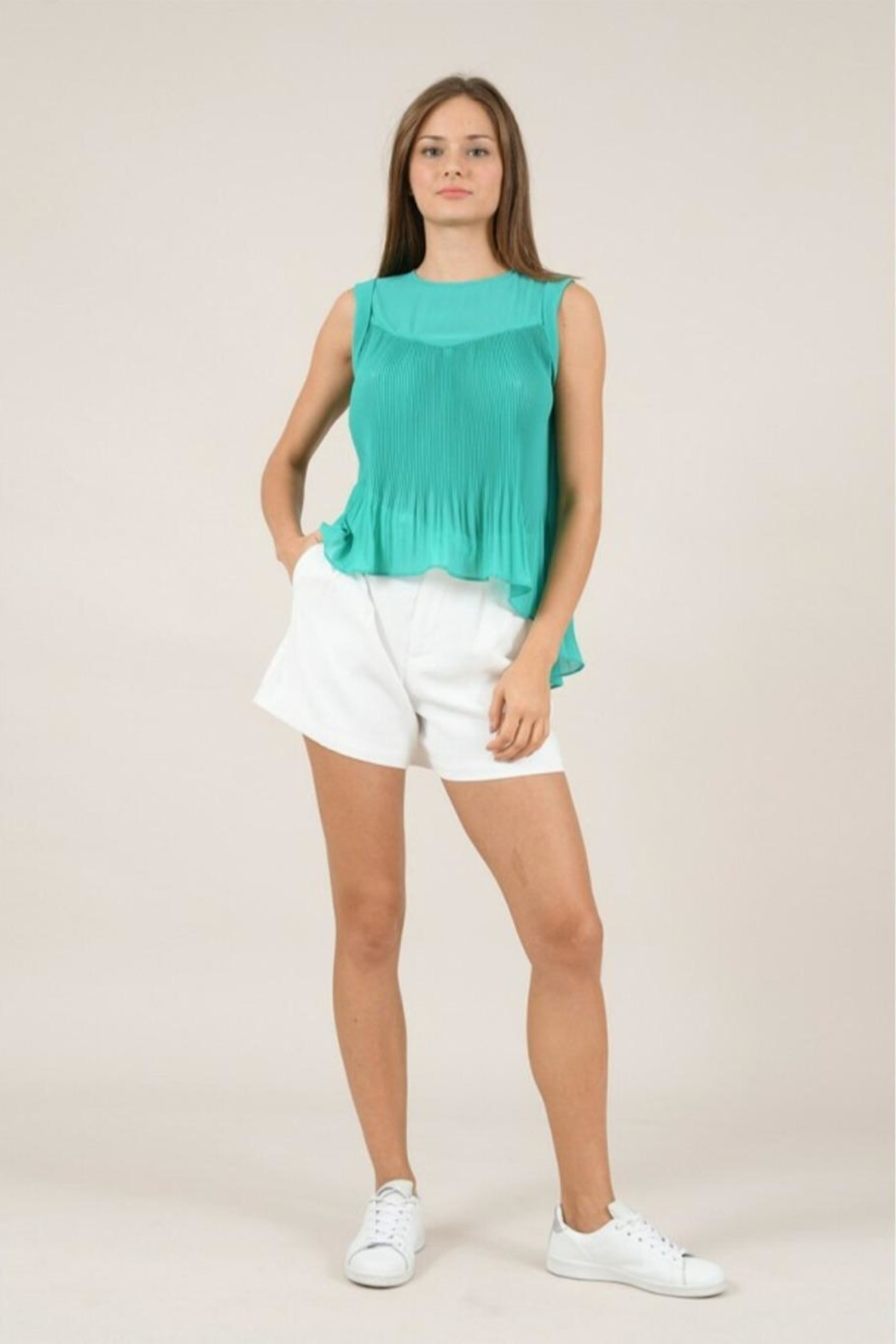 Molly Bracken Pleated Flared Top - Front Full Image