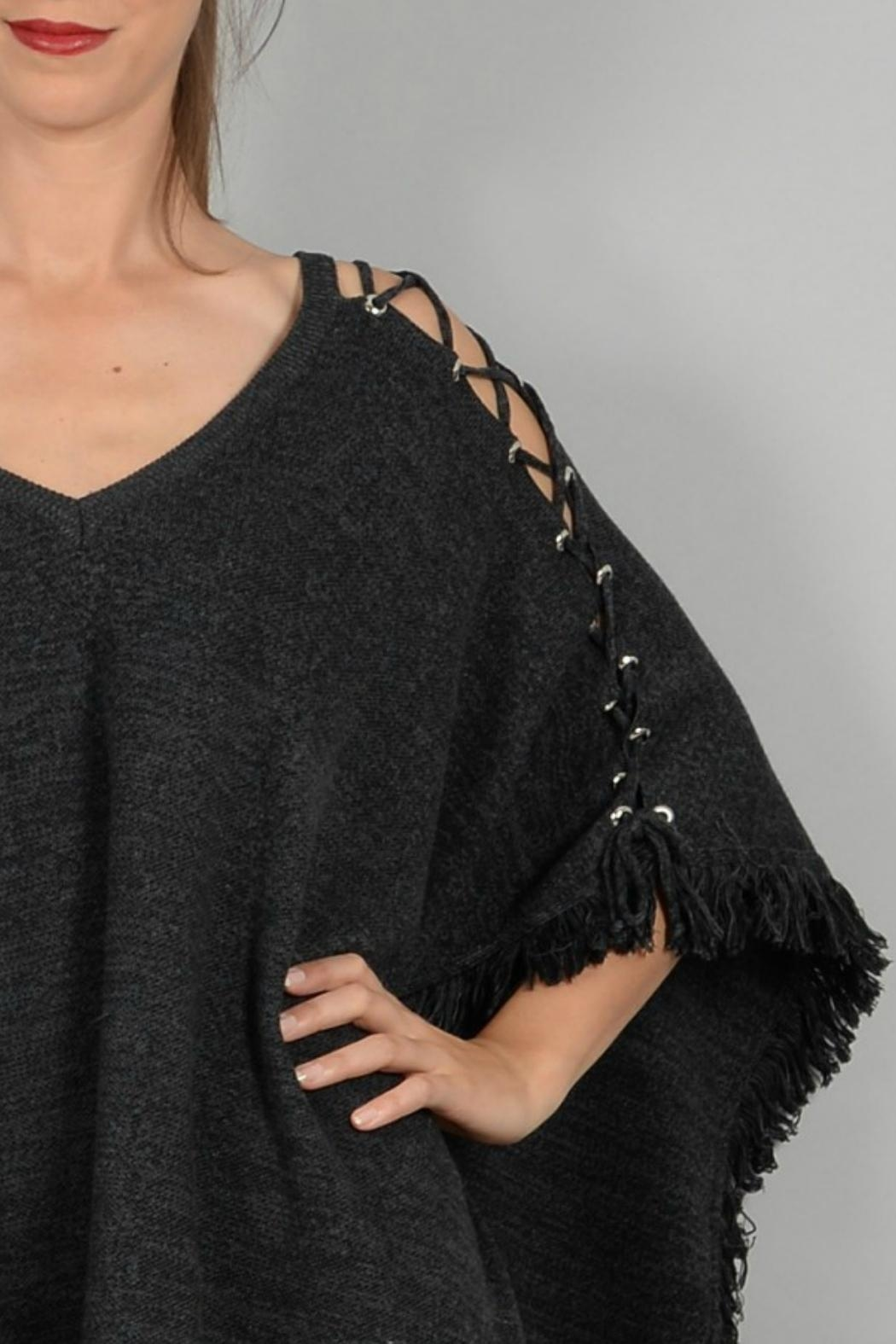 Molly Bracken Poncho With Lacing - Back Cropped Image