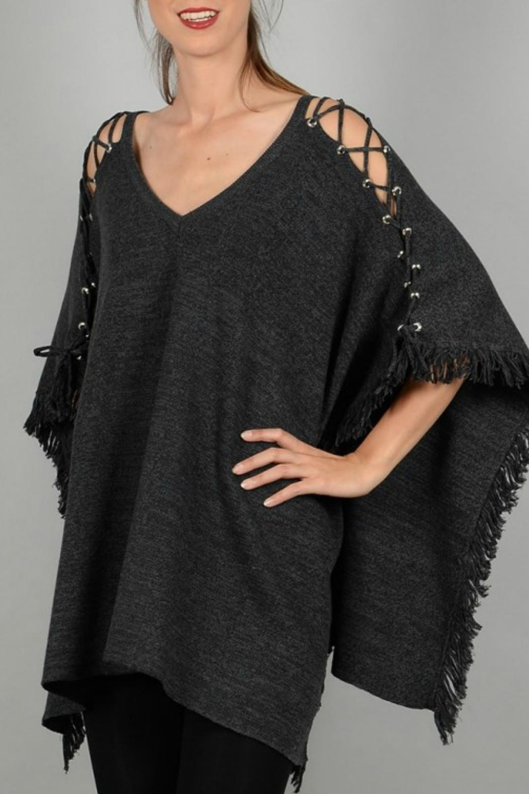 Molly Bracken Poncho With Lacing - Front Full Image