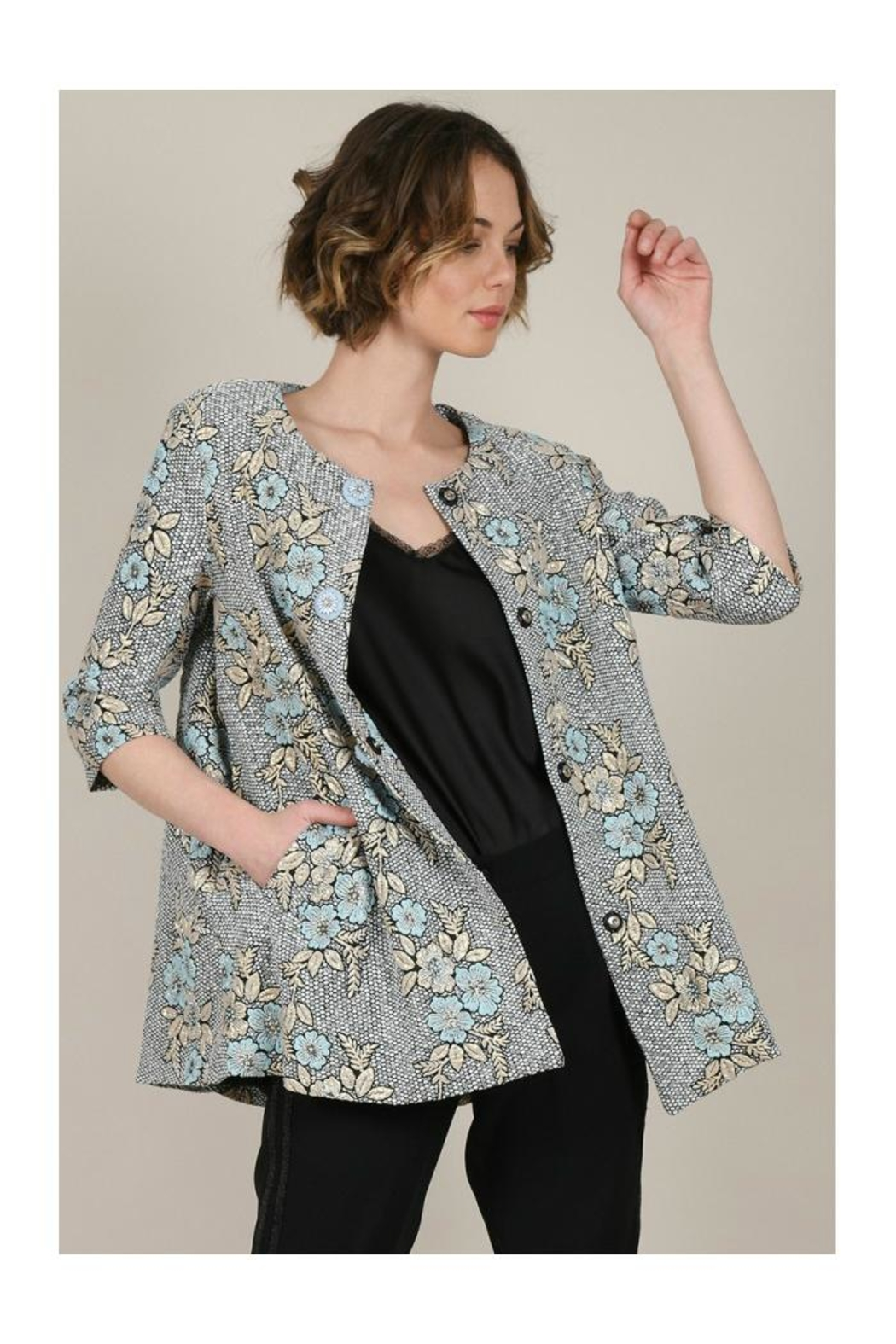 Molly Bracken Printed Flare Coat - Side Cropped Image