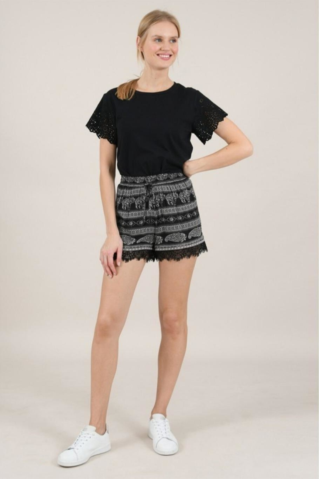 Molly Bracken Printed Lace Shorts - Front Full Image