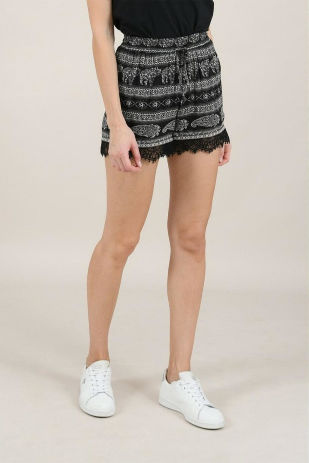Molly Bracken Printed Lace Shorts - Back Cropped Image