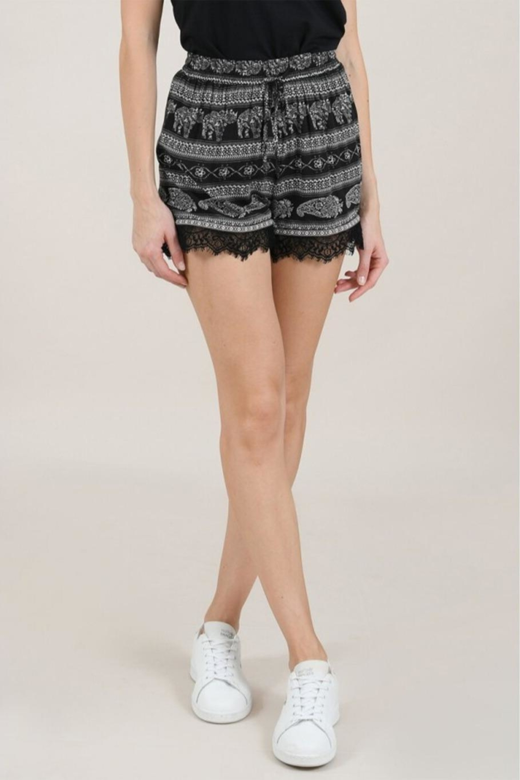 Molly Bracken Printed Lace Shorts - Front Cropped Image