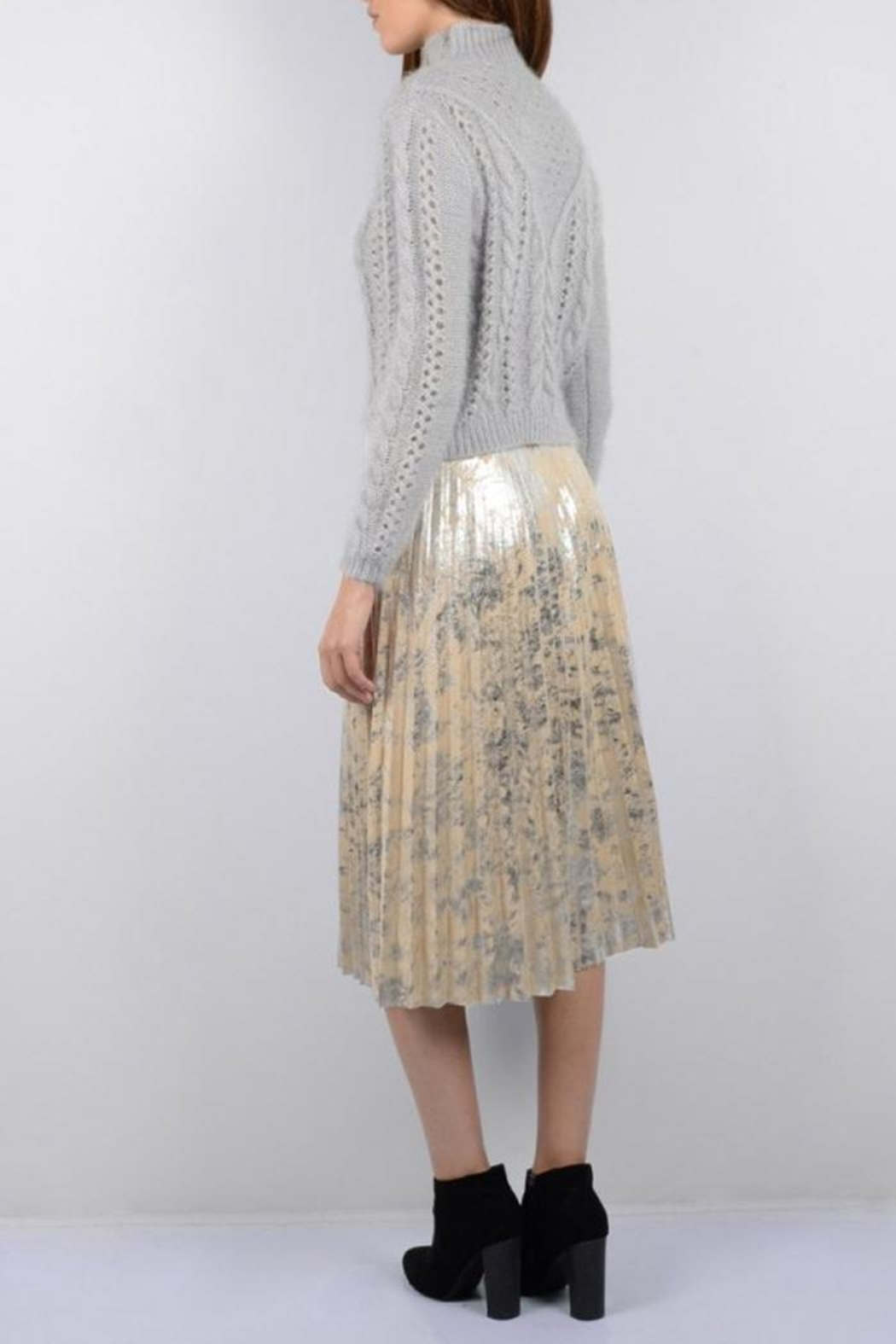 Molly Bracken Silver Suede Skirt - Front Full Image