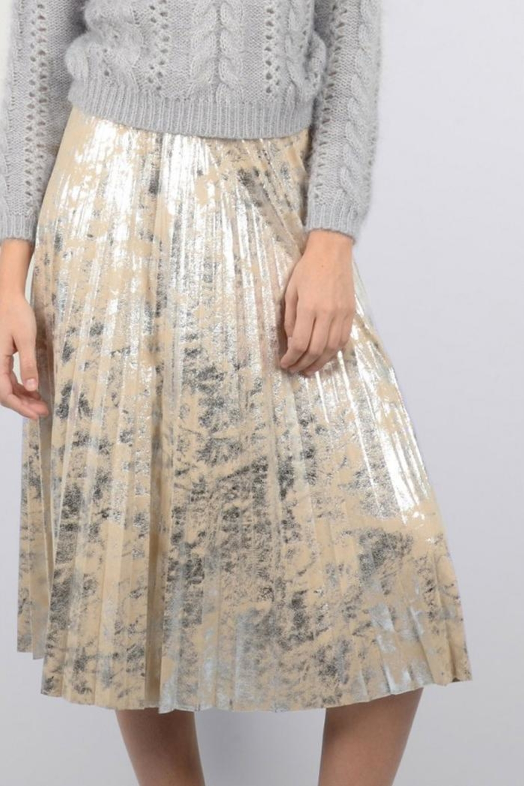 Molly Bracken Silver Suede Skirt - Side Cropped Image