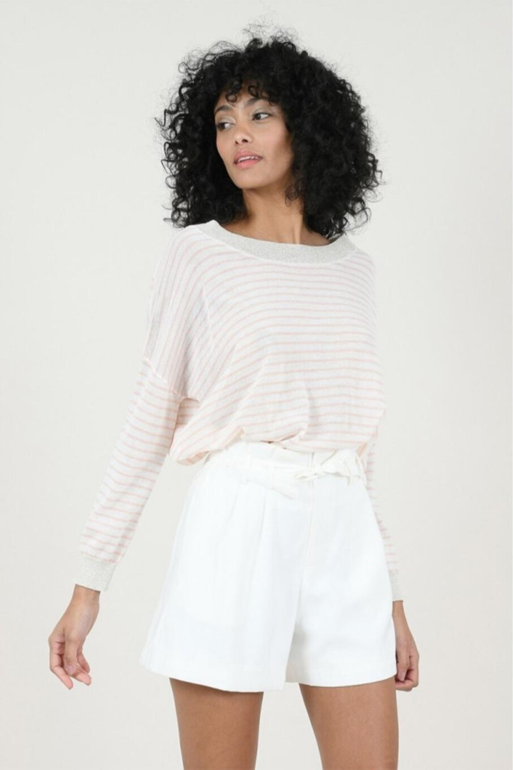 Molly Bracken Striped Fine Sweater - Back Cropped Image