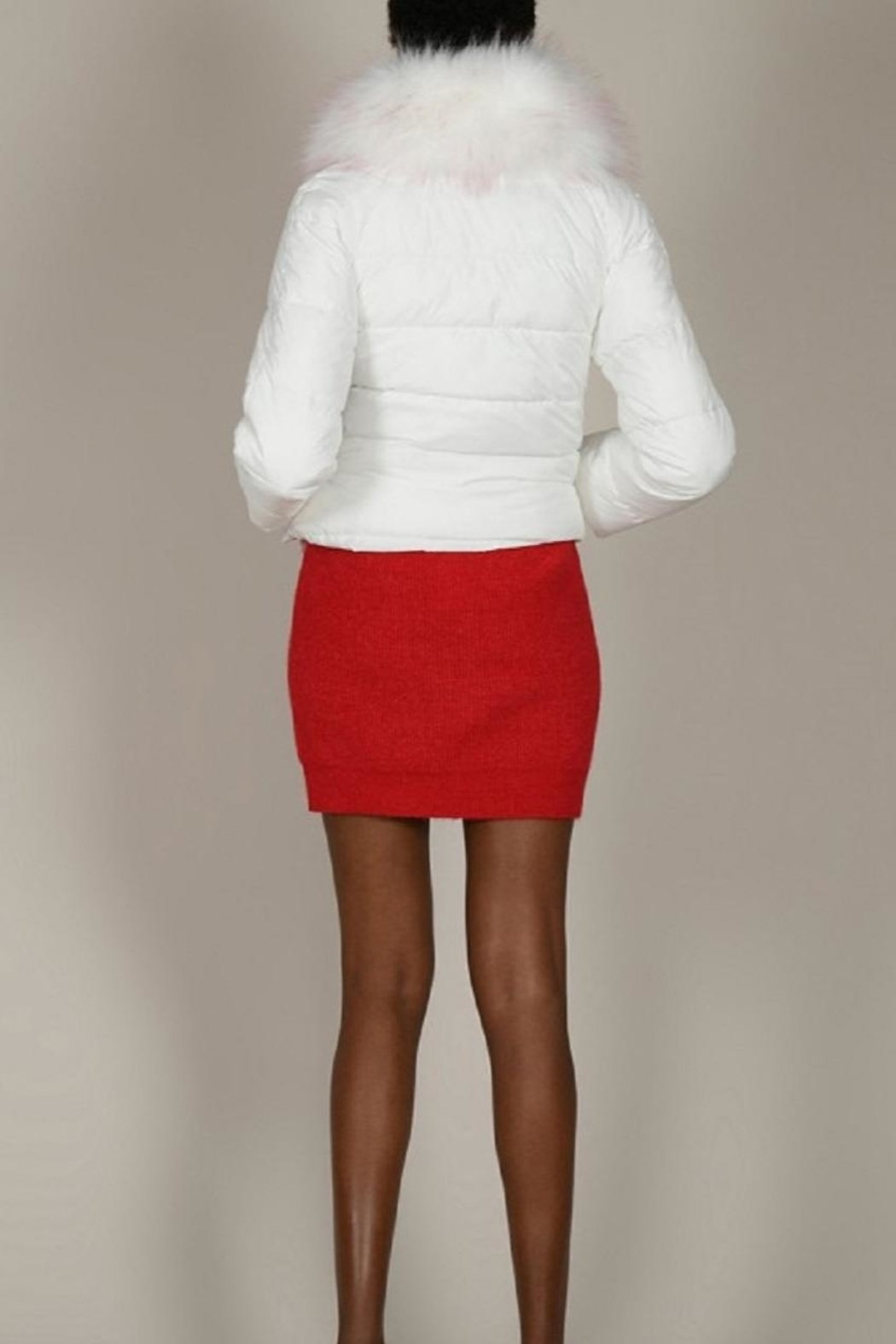 Molly Bracken White Puffer With Fur Trim - Back Cropped Image