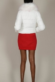 Molly Bracken White Puffer With Fur Trim - Back cropped