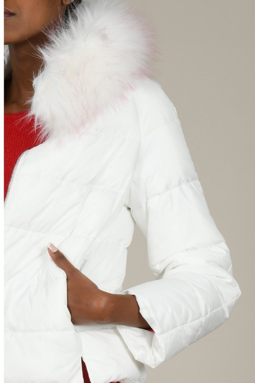 Molly Bracken White Puffer With Fur Trim - Front Full Image