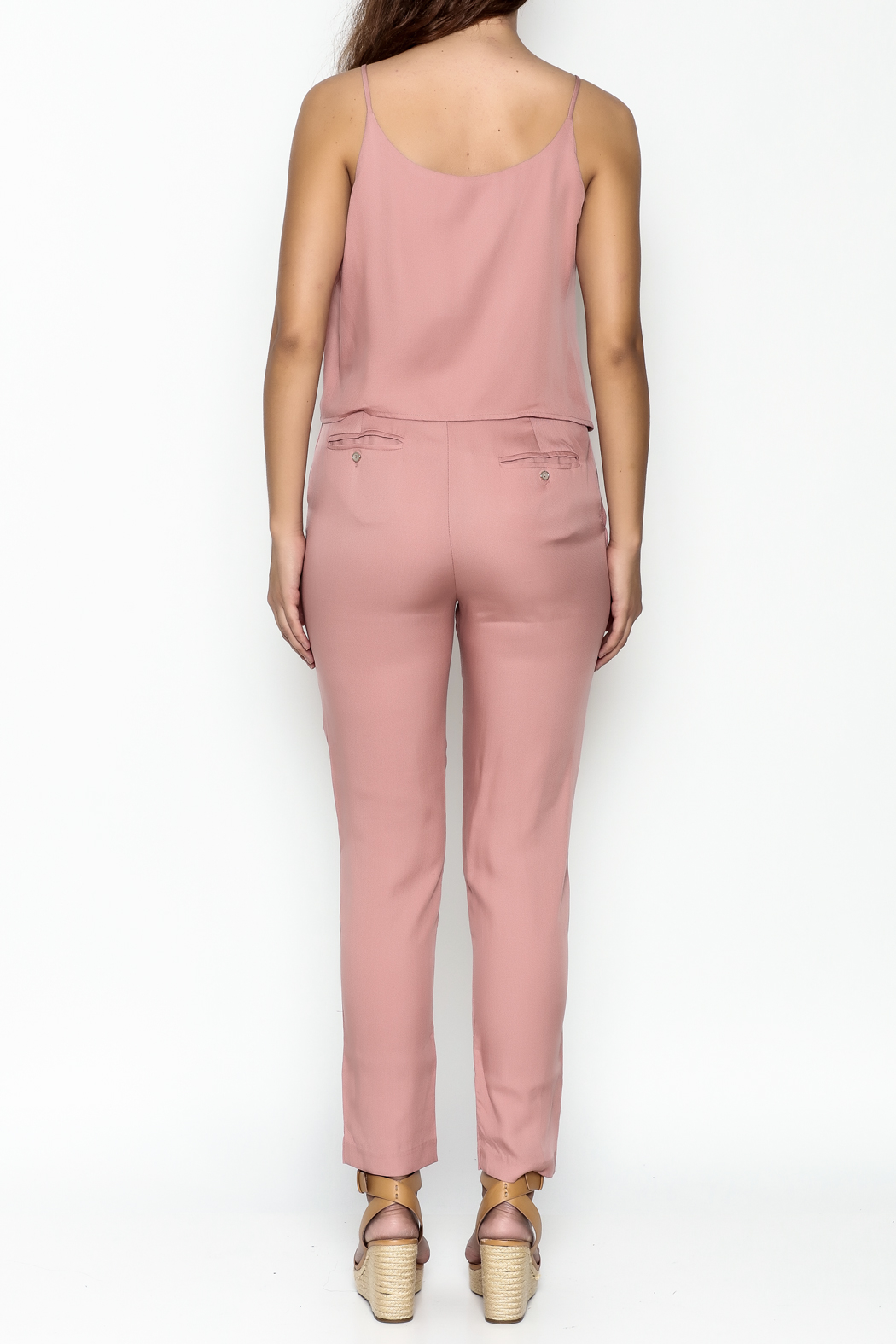 MOMNI BOUTIQUE Chic Pink Jumpsuit - Back Cropped Image