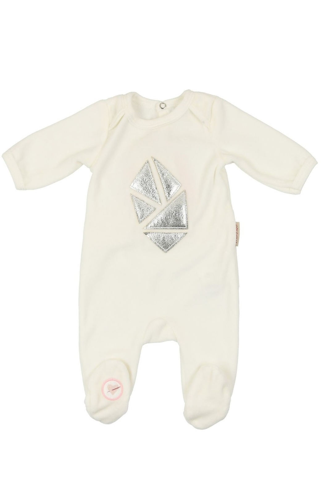MON TRESOR  Mon Tresor Black & Rose Gold Leather Abstract Kite Footie - Front Cropped Image