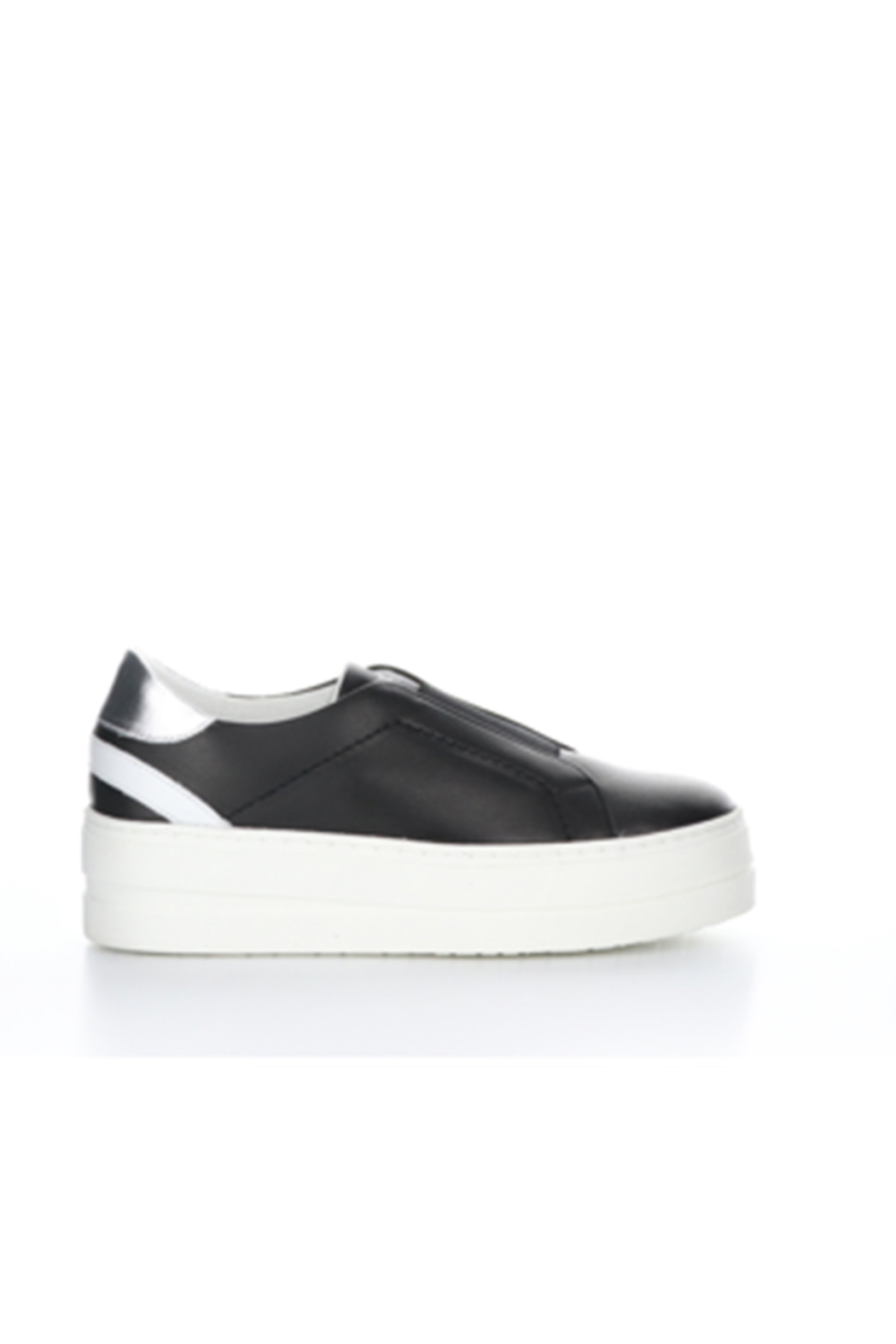 Bos & Co. Mona Black Leather Slip On - Side Cropped Image