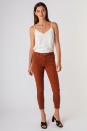 Tractr Mona High-Rise Fray Hem Cropped Skinny Jeans - Product Mini Image
