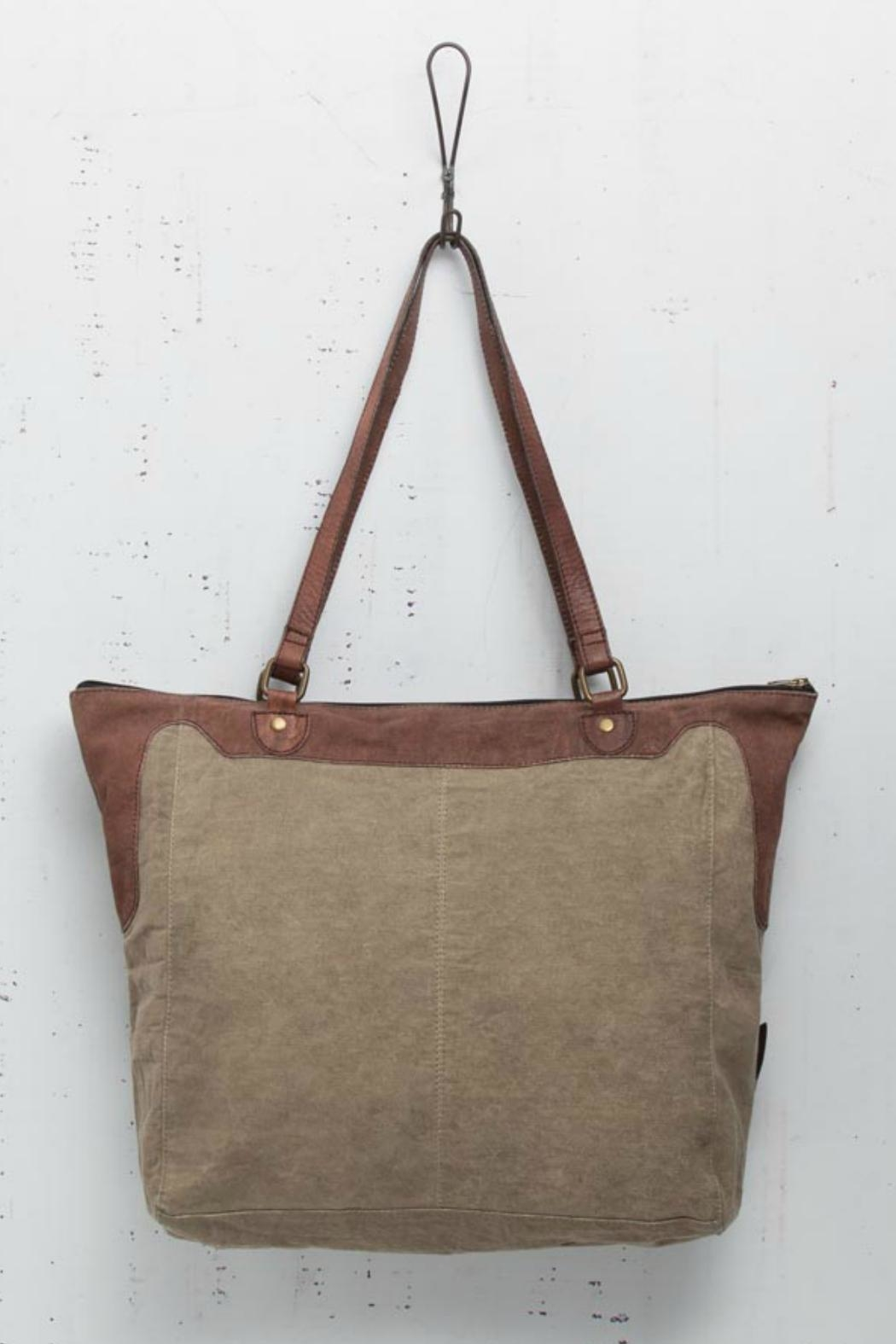 Mona B Applique Detailed Tote - Front Full Image