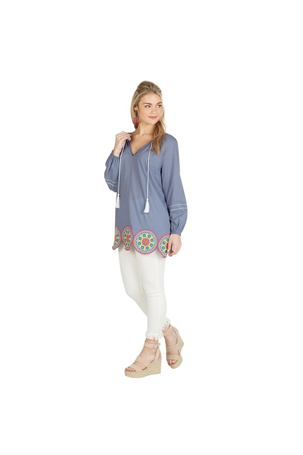 Mud Pie Monaco Embroidered Tunic - Front Cropped Image