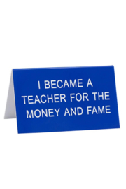 About Face Designs Money and Fame Sign - Front cropped