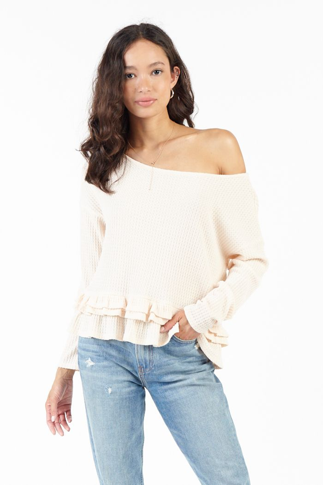 Sadie & Sage MONITE RUFFLE HEM TOP - Main Image