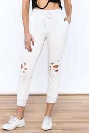 Mono B White Distressed Jogger Pants - Product Mini Image