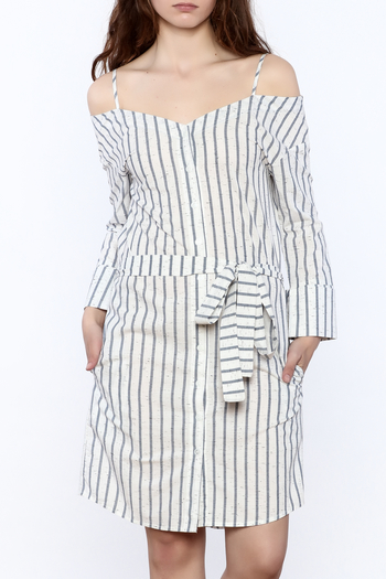 Shoptiques Product: Stripe Button Down Dress - main