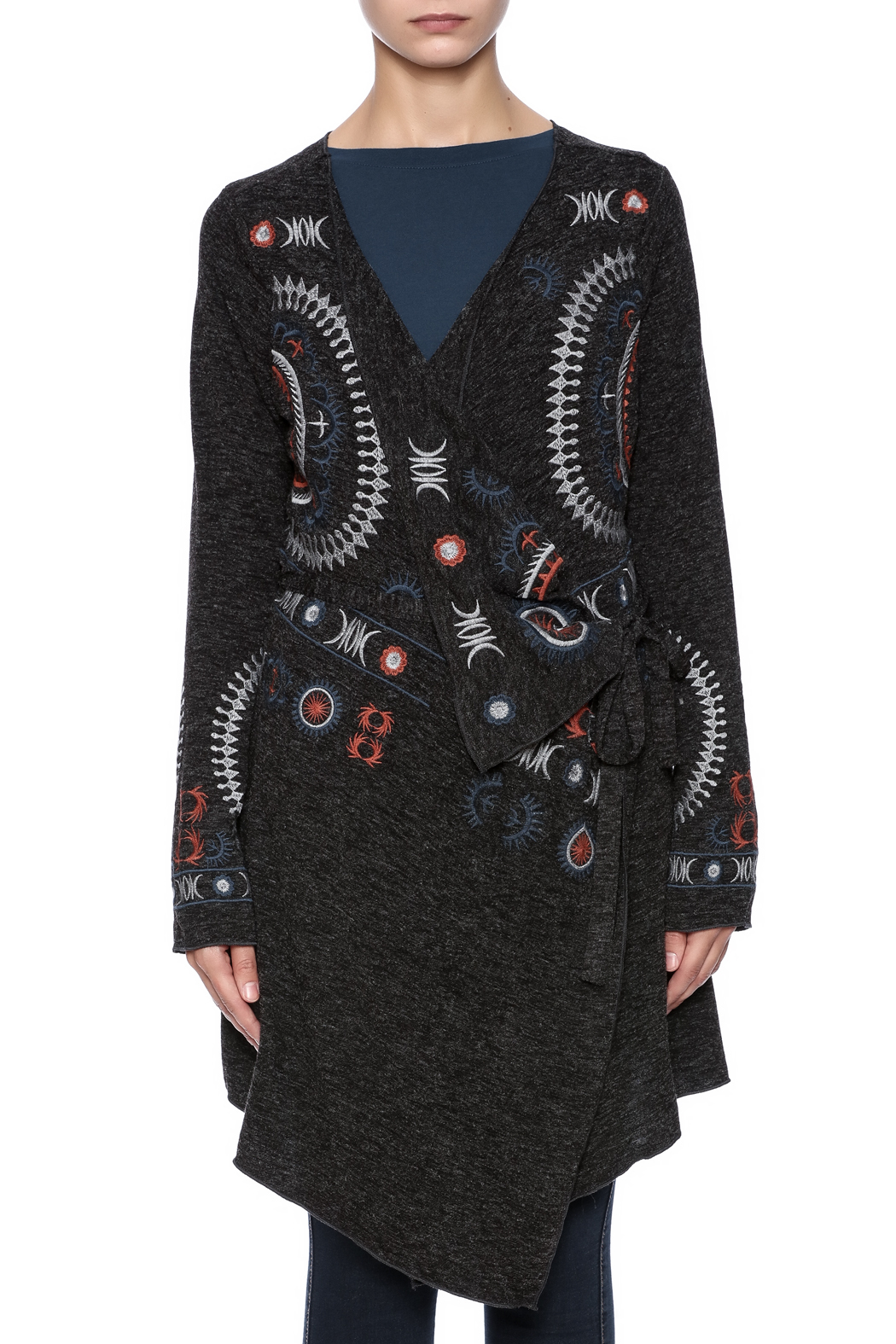 mono reno embroidered cardigan from pittsburgh by the