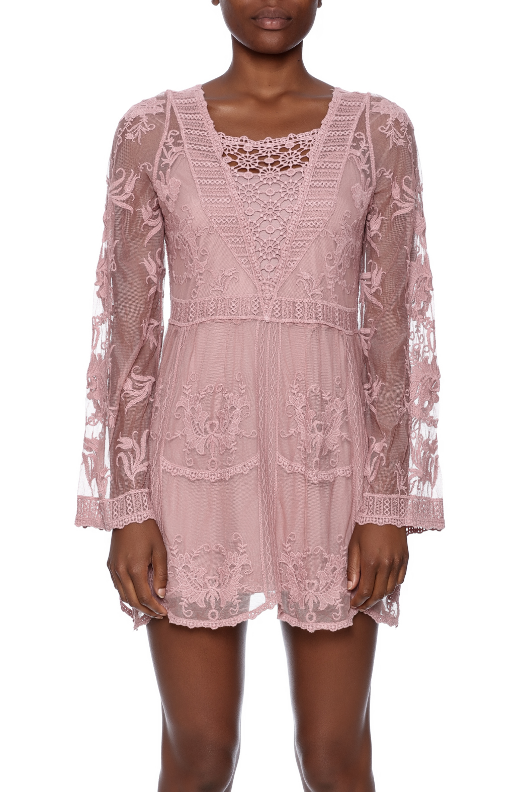 39abadf53dc177 Mono Reno Mauve Lace Tunic from Pittsburgh by The Vintage Valet ...
