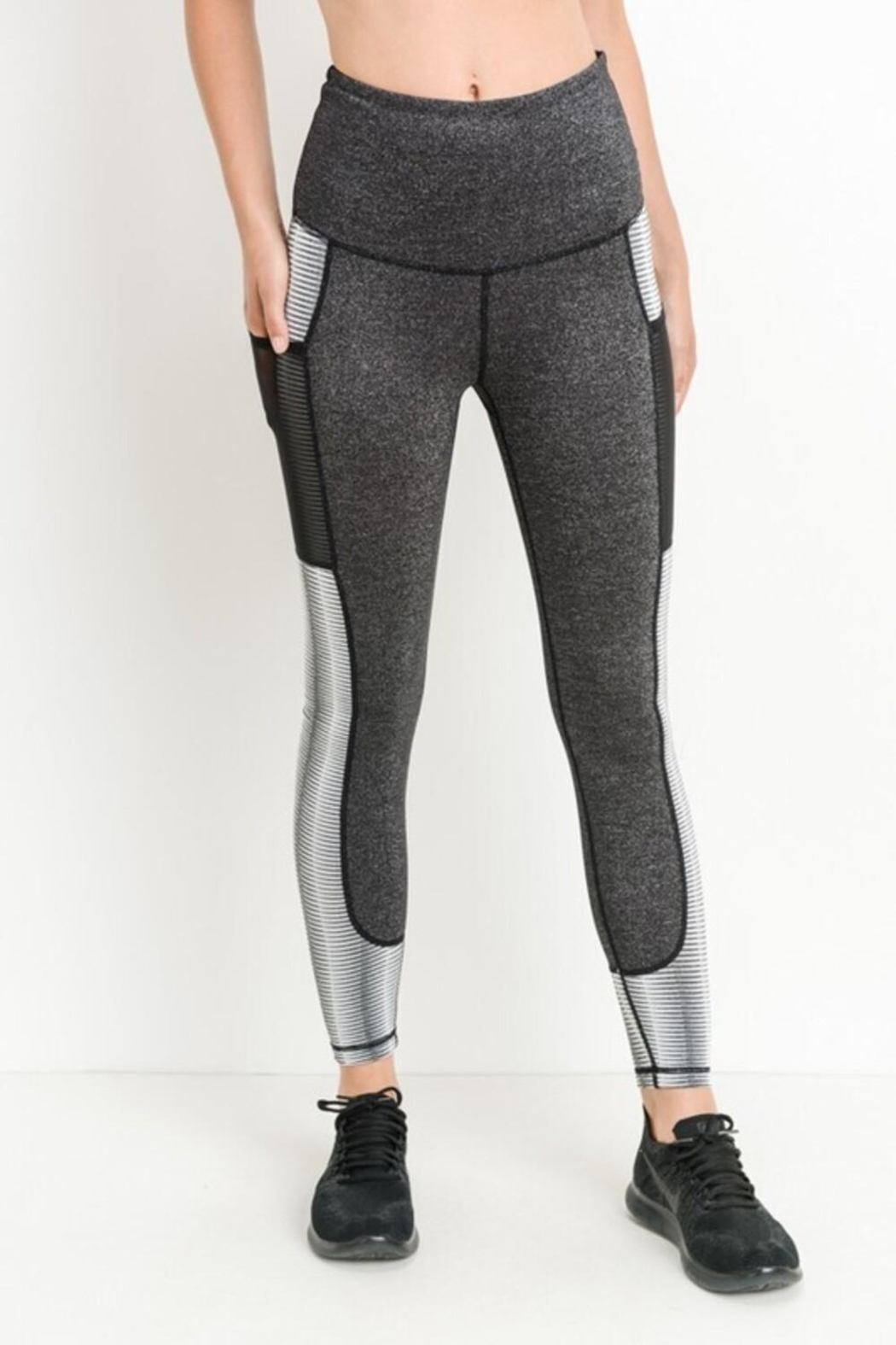 Mono B Block Mesh Leggings - Front Full Image