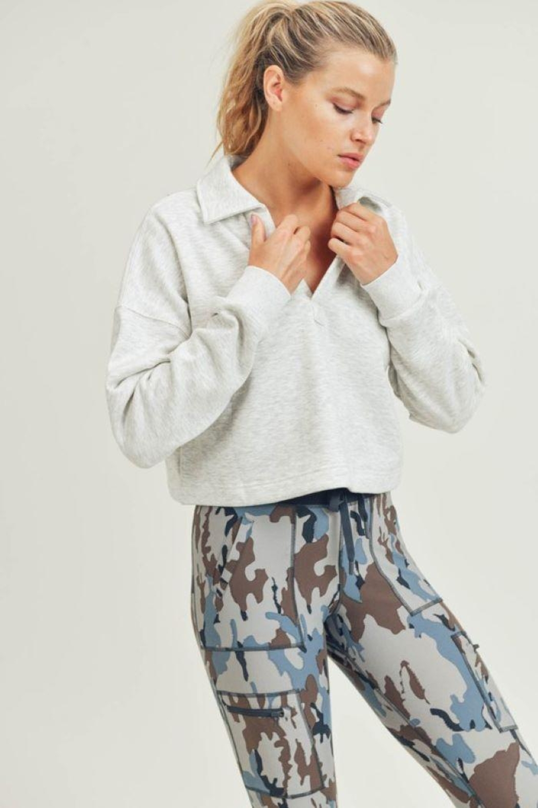 Mono B Boxy Collared Cropped Top - Back Cropped Image