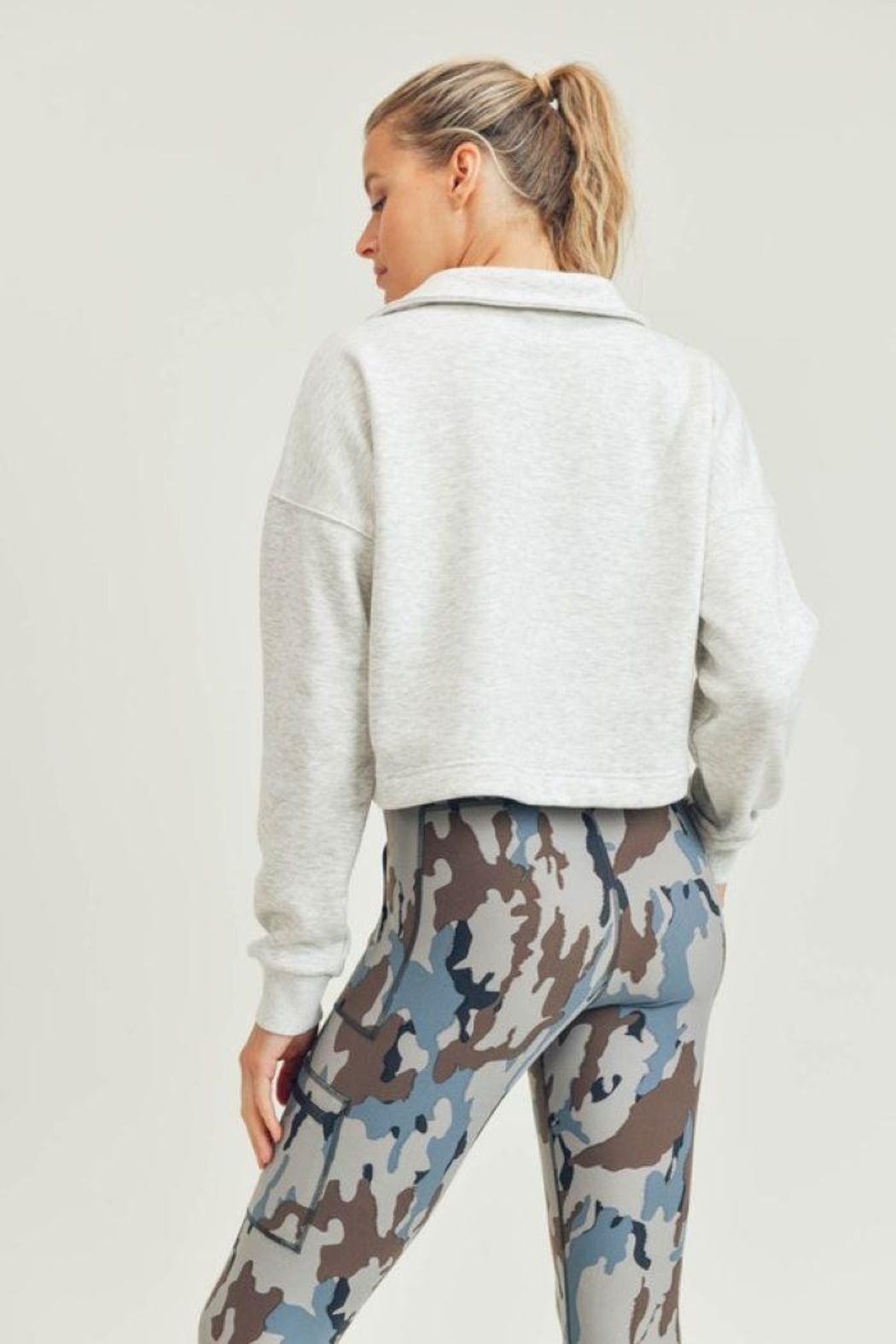 Mono B Boxy Collared Cropped Top - Front Full Image