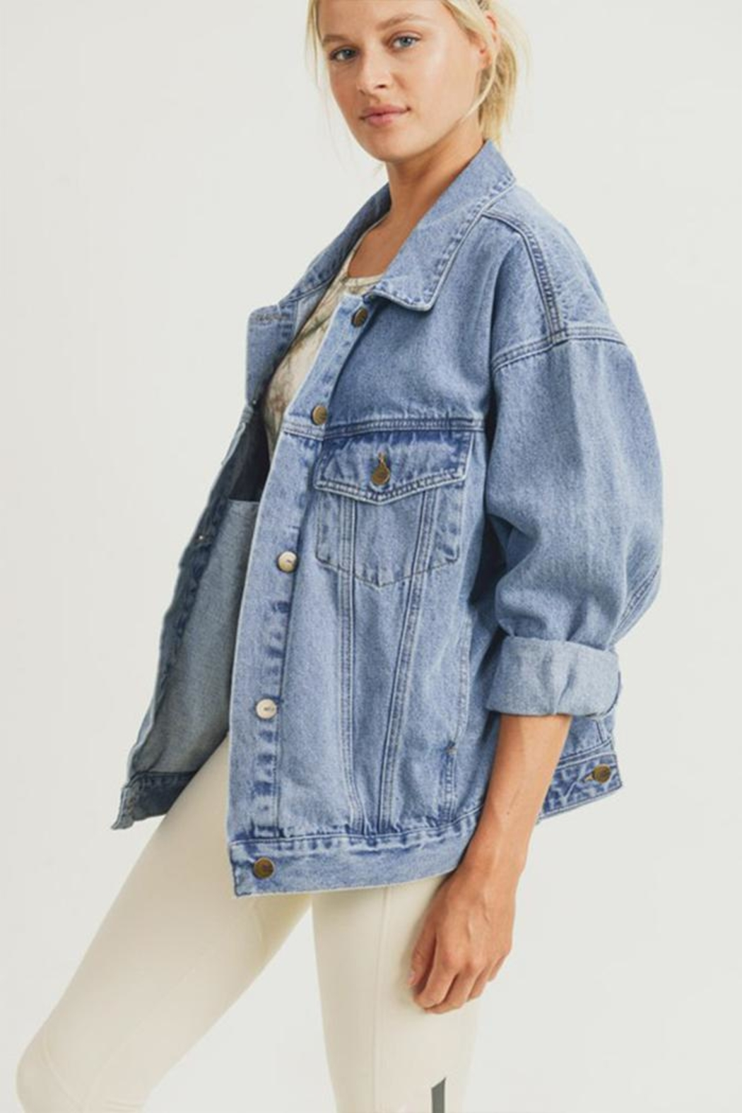 Mono B Boxy-Cut Denim Jacket - Front Cropped Image