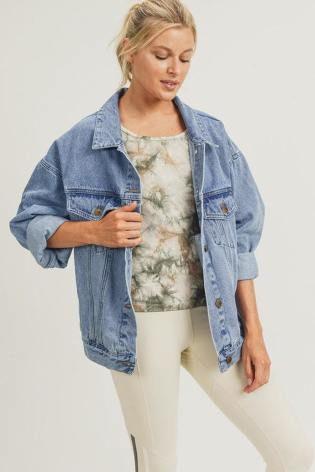Mono B Boxy-Cut Denim Jacket - Side Cropped Image